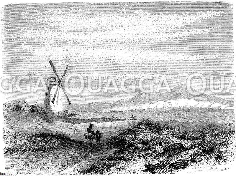 Wanderer und Windmühle