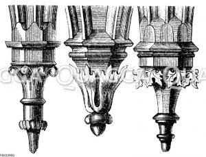 Konsole aus Tischnovitz (links). Konsole aus Budweis (mittig). Konsole aus Saaz (rechts). Gotischer Baustil.
