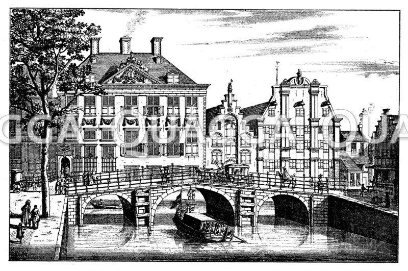 Straße in Amsterdam im 17. Jahrhundert