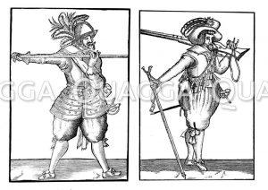 Englischer Pikenier und Musketier aus der Zeit Jakobs I.