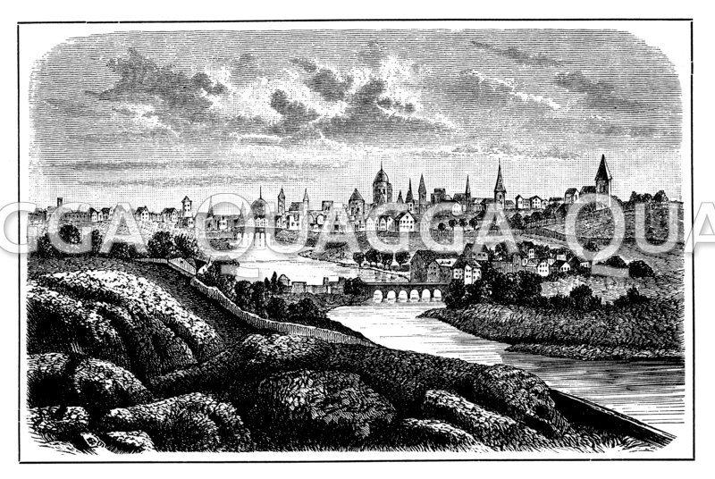 Dublin im 17. Jahrhundert. Nach einem zeitgenössischen Kupferstich
