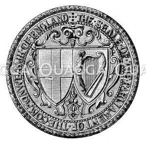 Siegel des Parlaments der englischen Republik. Großes Staatssiegel von England nach Ausrichtung der Republik