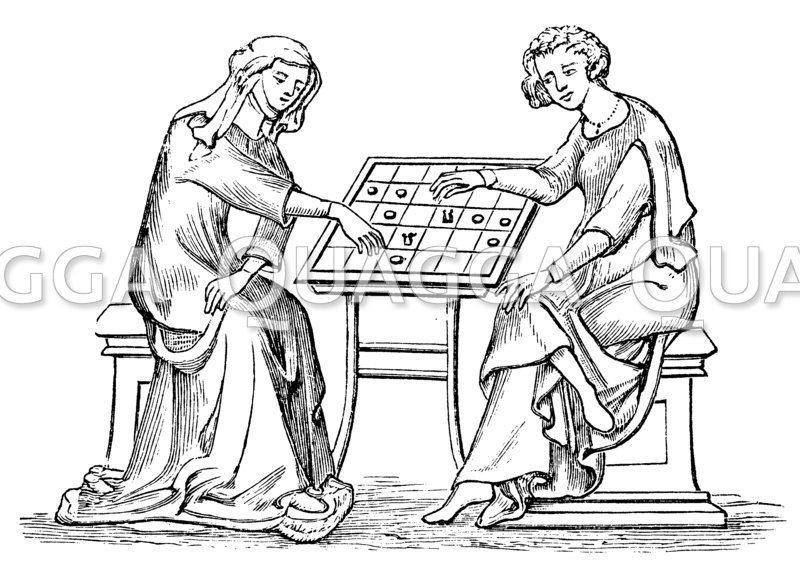 Frau und Jüngling bei einem Brettspiel (Anfang des 14. Jahrhunderts)
