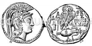 Athenische Münze mit dem Bild der Pallas Athene