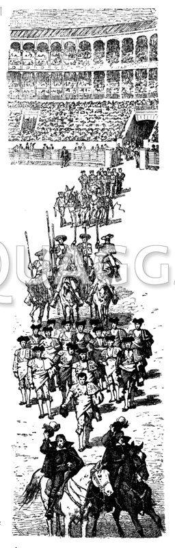 Stierkampf: Aufzug der Matadores in der Arena
