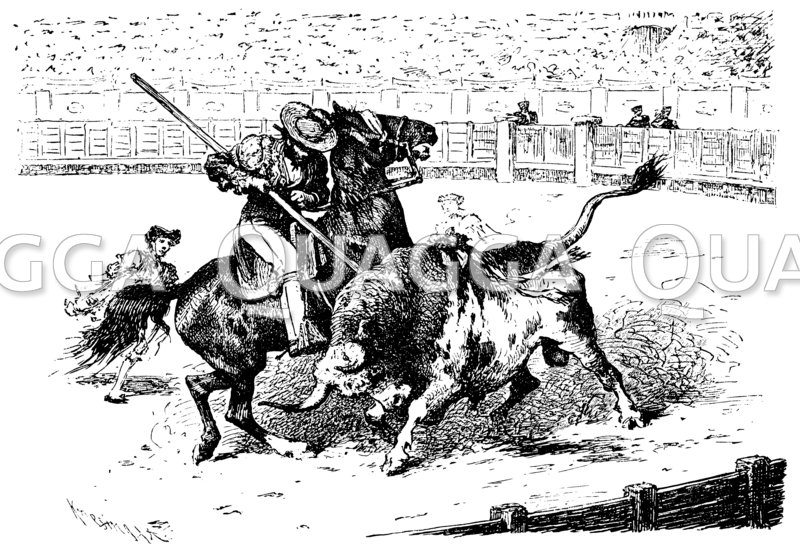 Stierkämpfer auf dem Pferd im Kampf mit dem Stier
