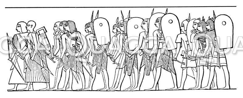 Ägyptische Soldaten aus der Zeit der18. und 19. Dynastie