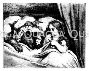 Rotkäppchen mit dem als Großmutter verkleideten Wolf im Bett