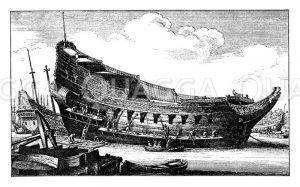 Holländisches Kriegsschiff im Bau um die Mitte des 17. Jahrhunderts