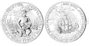 Silberne Medaille auf die afrikanische Expidition des Großen Kurfürsten im Jahre 1681