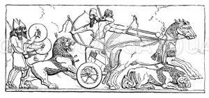 Assyrischer König auf Löwenjagd