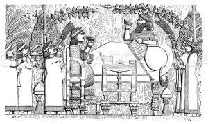 Assurbanipal und seine Gemahlin beim Bankett
