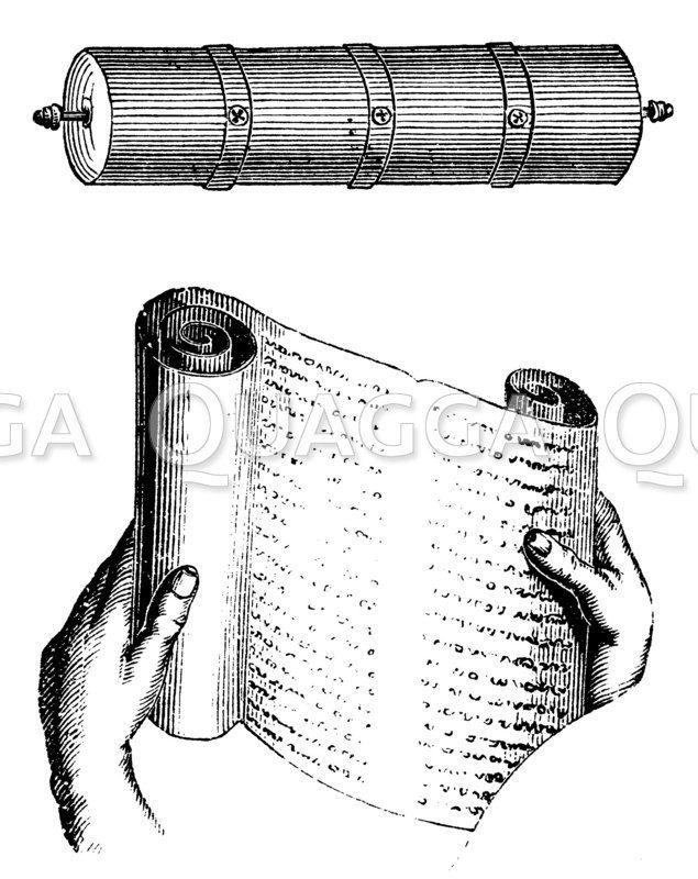 Bücherrolle und Kapsel zur Aufbewahrung