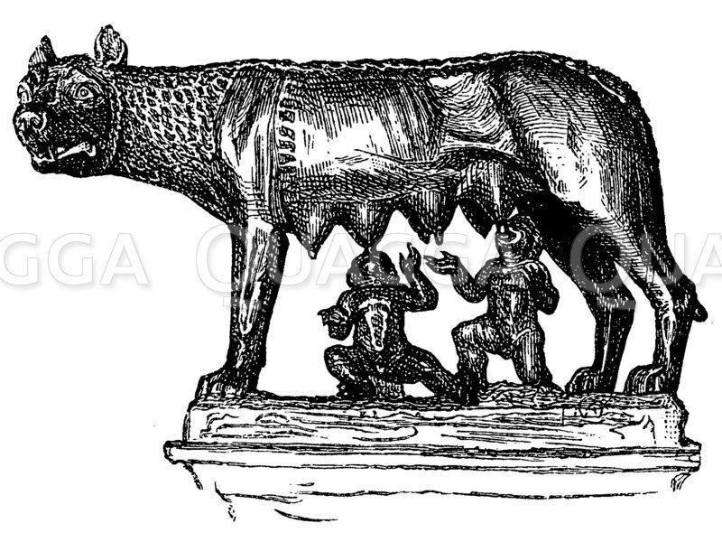 Kapitolinische Wölfin säugt die Zwillinge Romulus und Remus. Alte Bronzefigur