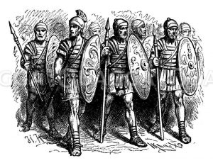 Römische Legionäre (Legionssoldaten) mit Pilum