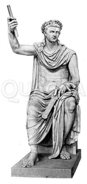 Tiberius. Antike Marmorstatue