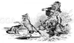 Fuchs flieht vor Löwen