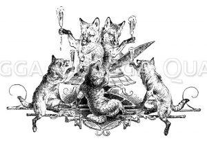 Füchse feiern mit Sektgläsern