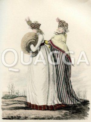 Winterlich gekleidete Damen mit Muff