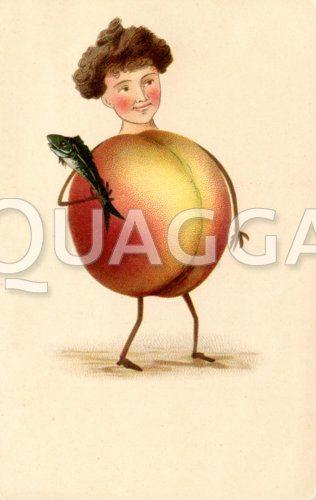 Frau als Apfel mit Fisch dargestellt