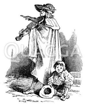 Bettler mit Geige und Kind