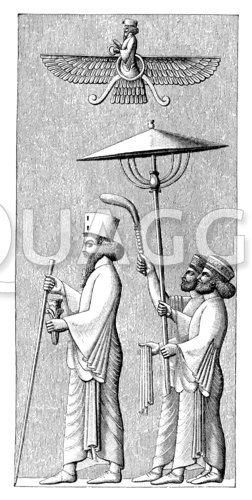 Darius mit Gefolge (Schirm und Fliegenwedel)
