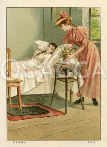 Besuch bei einer jungen Frau am Krankenbett