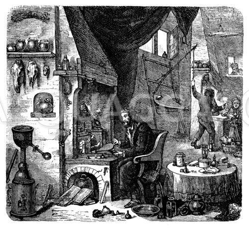 Laboratorium eines Alchimisten. Nach einem Gemälde von David Teniers
