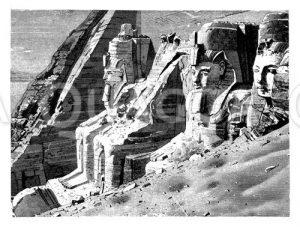 Fassade des Felsentempels zu Abu Simbel in Nubien