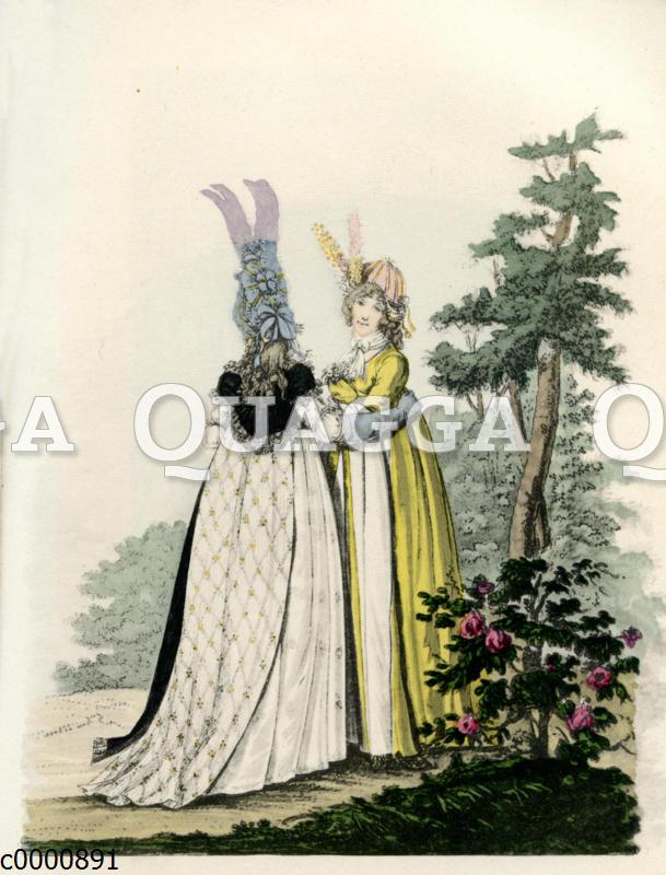 Damen mit Kopfputz beim Spaziergang