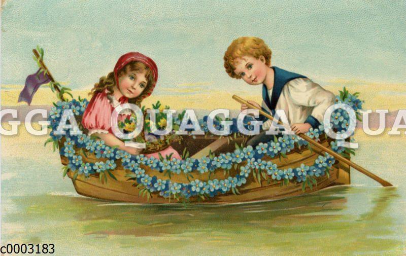 Kinder in einem Boot