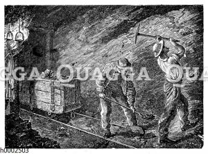Im Kohlenbergwerk. Arbeit im Stollen unter Tage