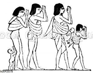 Altägyptische Klageweiber beim Begräbnis