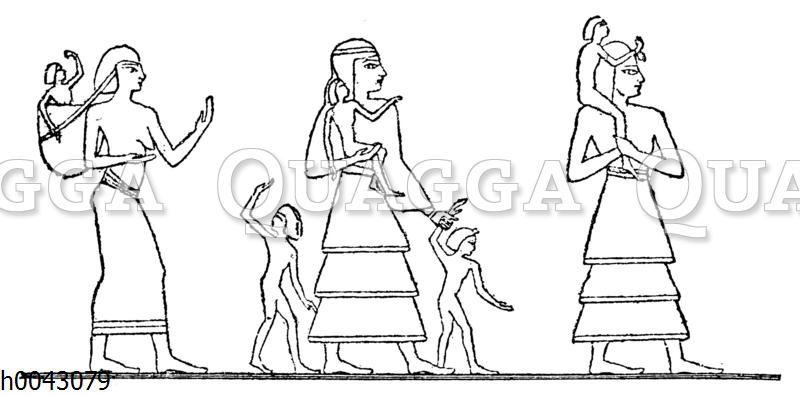 Altägyptische Frauen mit Kindern