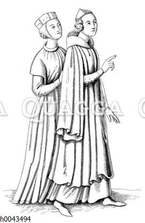 Bürgerliche Tracht im XIII. Jahrhundert. Miniatur aus einem lateinischen Evangelienbuche dieser Zeit