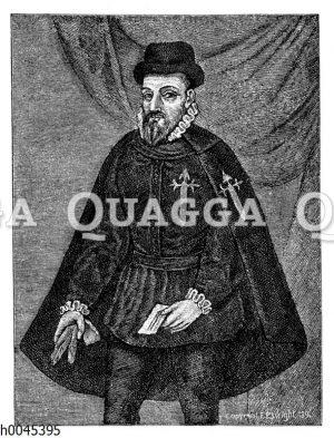 Franz Pizarro. Nach dem Ölgemälde im Palais des Vizekönigs zu Lima. Namenszug: Nur die Schörkel von Franz Pizarro selbst
