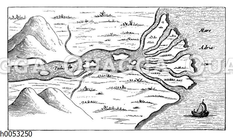 Flussdelta des Po in das Adriatische Meer