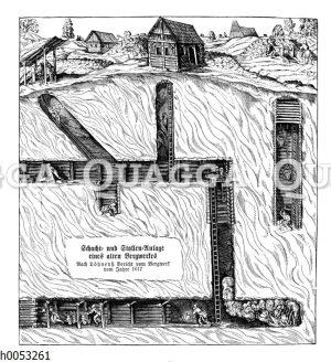 Schacht und Stollenanlage eines Bergwerks