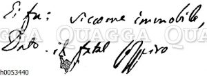 Zwei Verse aus II cinque Maggio. Autograph Allesandro Manzonis