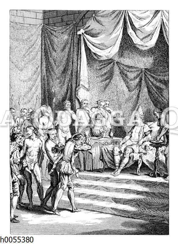 Audienz Vasco da Gamas bei dem Samorin in Kalikut (Kozhikode) im Jahre 1498