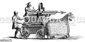 Altrömische fahrbare Pfeilschleidermaschine