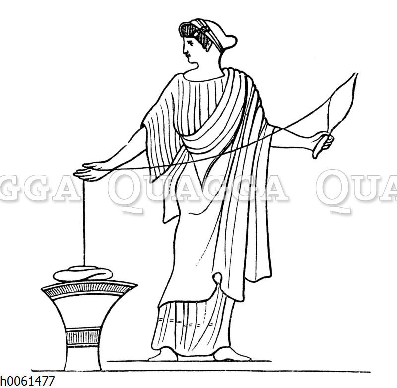 Griechische Spinnerin (Vasenbild)