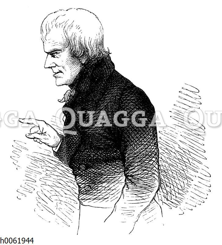 Friedrich Hölderlin im 55. Lebensjahre. Gezeichnet 1825 zu Tübingen von G. Schreiner