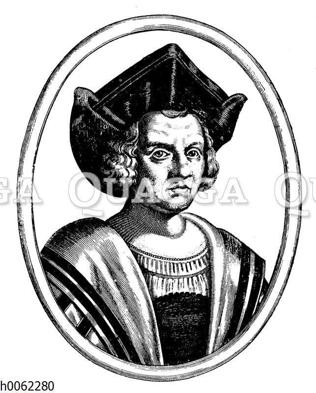 Christoph Columbus (nach einem Stiche des De Bry aus dem XVI. Jahrhundert)