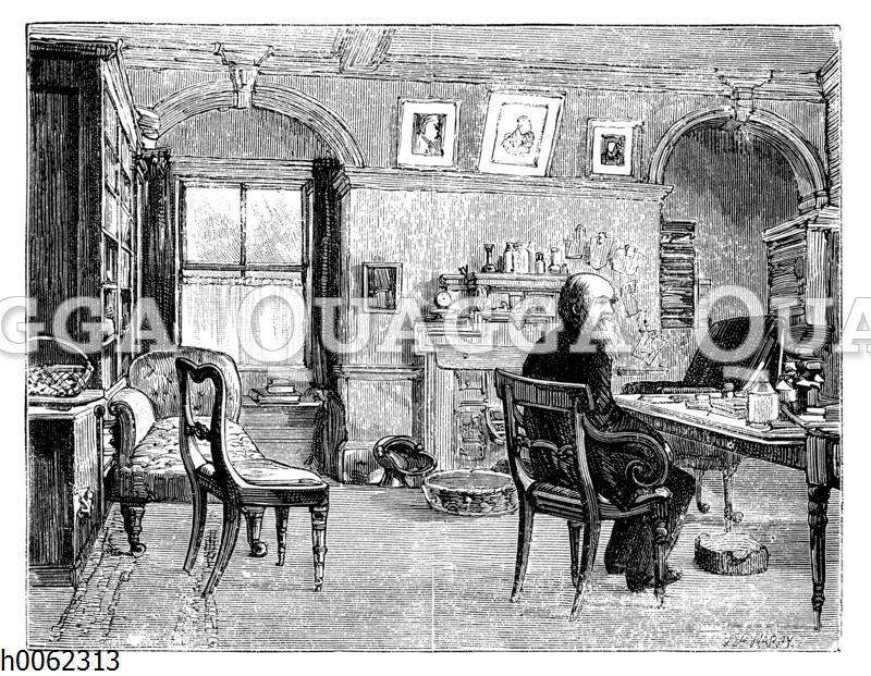 Charles Darwin in seinem Arbeitszimmer
