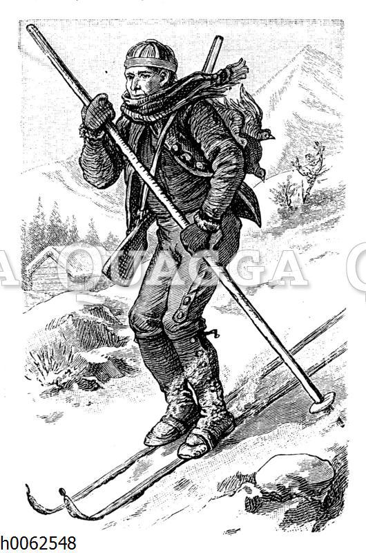 Jäger auf Schneeschuhen