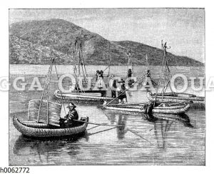 Indianische Boote auf dem Titicacasee