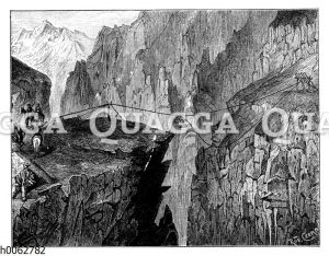 Reisezug und Seilbrücke in den Anden