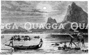 Verschiedene Arten des Fischfanges auf polynesischen Riffen