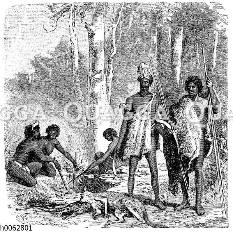 Australier ihre Jagdbeute zubereitend